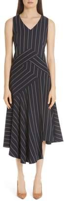 Lafayette 148 New York Ashlena Asymmetrical Stripe Dress