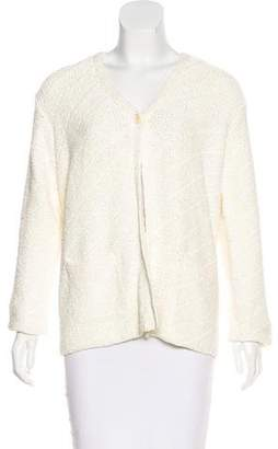 Donna Karan Open Knit V-Neck Cardigan