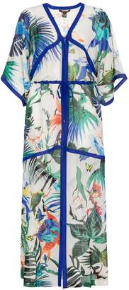 Roberto Cavalli Sheer Print Kaftan Dress