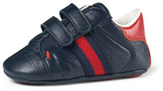 Gucci Leather Grip-Strap Sneaker, Infant Sizes 0-12 Months
