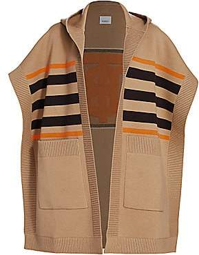 Burberry Women's Carla TB Monogram Wool & Cashmere-Blend Striped Cape Cardigan