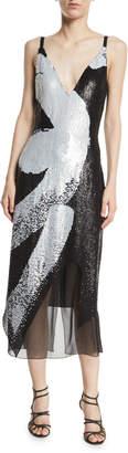 Cushnie Deep V Sequin Midi Cami Dress