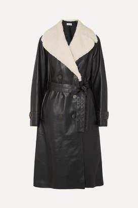 Belted Shearling-trimmed Leather Coat - Black