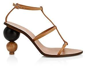 Cult Gaia Women's Eden Wooden Heel Leather Slingback Sandals