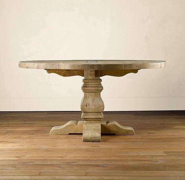 Pedestal Salvaged Wood Round Table - 60