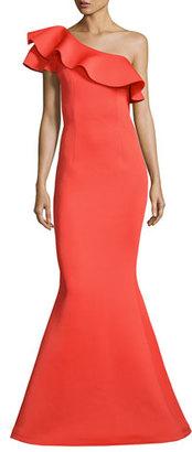 Jovani One-Shoulder Ruffle Mermaid Gown, Orange $595 thestylecure.com