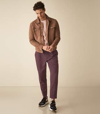 Reiss DAM STRIPED CASUAL TROUSERS Bordeaux