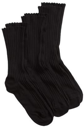 Hue 3-Pack Scalloped Rib Socks