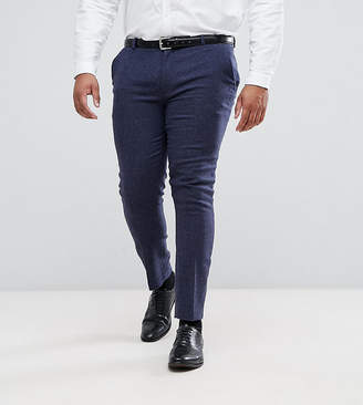 Asos DESIGN PLUS Wedding Super Skinny Suit Pants In Blue Micro Check