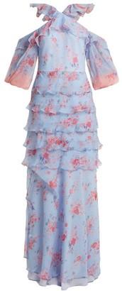 Vilshenko Alisanna Ruffle Trimmed Silk Dress - Womens - Blue Multi
