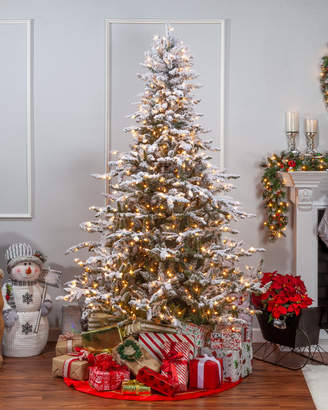 Sterling Tree Company 7.5Ft Flocked Pre-Lit Layered Mountain Spruce