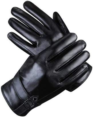 Men Leather Gloves Ulstar Touchscreen Winter Warm Texting Driving Gloves (Style1