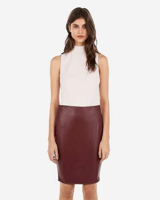 Express Minus The) Leather High Waisted Pencil Skirt