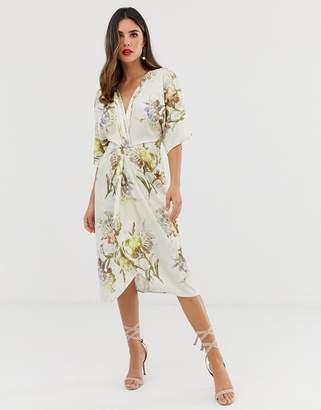 1188a544d72 Hope   Ivy knot front midi dress in summer floral print