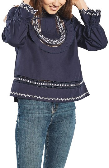 TopshopPetite Women's Topshop Embroidered Ruffle Bib Blouse