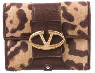 Valentino Ponyhair Compact Wallet Brown Ponyhair Compact Wallet