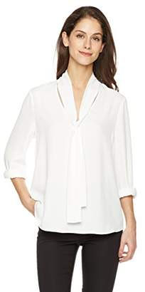 Suite Alice Long Sleeve V Neck Tie Front Woven Shirt