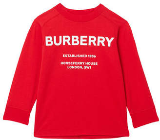Burberry Griffon Long-Sleeve Logo Tee, Size 3-14