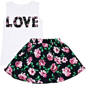 Funkyberry Text Graphic Tank & Floral Skirt Set