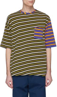 Marni Colourblock stripe chest pocket T-shirt