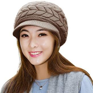617cccd32513c HINDAWI Womens Beanie Winter Hat Scarf Set Slouchy Warm Snow Knit Skull Cap  Brown
