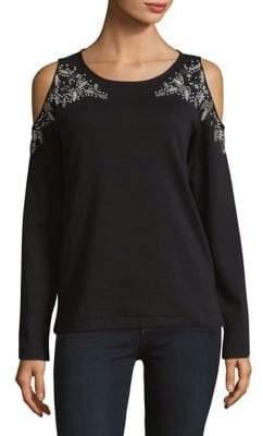 Joan Vass Beaded Cold-Shoulder Top