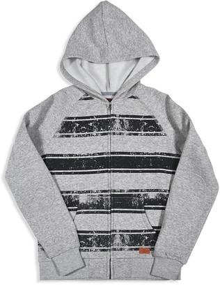 7 for All Man Kind Boys' Distressed Stripe Fleece Hoodie - Big Kid $60 thestylecure.com