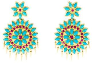 Paul Morelli 18K Ruby & Turquoise Appliqué Earrings
