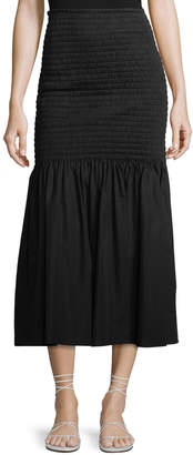 Rosetta Getty Smocked High-Waist Midi Skirt