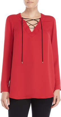 Nic+Zoe Nic + Zoe Red Lace-Up Top