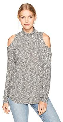 Michael Stars Women's Jasper Poorboy Turtleneck Cold Shoulder Top