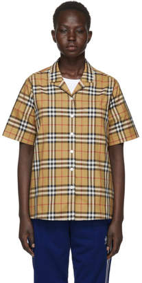 Burberry Beige Check Short Sleeve Shirt