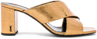 Saint Laurent Cracked Metallic Leather Loulou Pin Mules