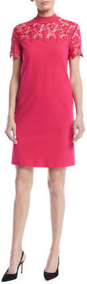 Escada Sport Mock-Neck Lace-Guipure Crepe Dress