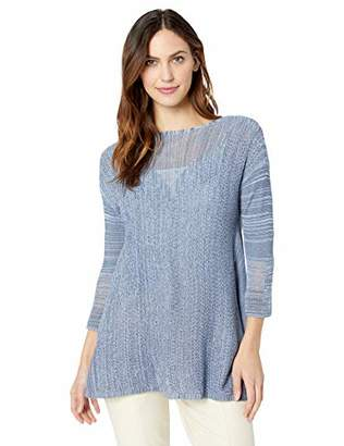 Andrea Jovine Womens Pullover Sweater Knit Top with Marled Mesh Stitch