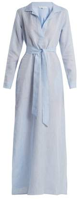 Pour Les Femmes - Tie Waist Raw Cotton Night Dress - Womens - Blue