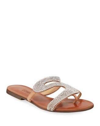 Schutz Noemi Embellished Flat Slide Sandals