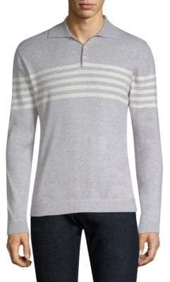 Eleventy Striped Long Sleeve Polo