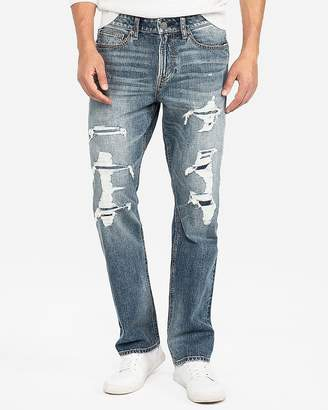 Express Classic Straight Destroyed Stretch Jeans