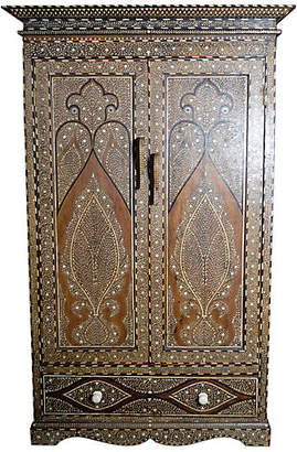 One Kings Lane Vintage Antique Anglo-Indian Inlaid Armoire - FEA Home