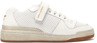 Saint Laurent Travis Perforated Low Top Leather Trainers - Womens - White