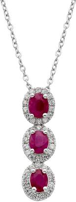 Ruby & 1/3 Carat T.W. Diamond 14k White Gold Oval Halo 3-Stone Pendant Necklace