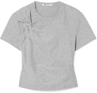 Alexander Wang Cropped Twist-front Stretch-cotton Jersey T-shirt - Gray