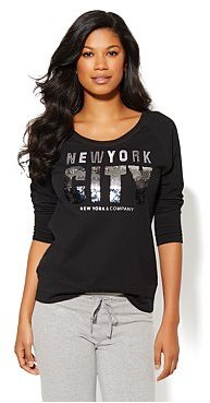 New York & Co. Love, NY&C Collection - Sequins Logo Sweatshirt