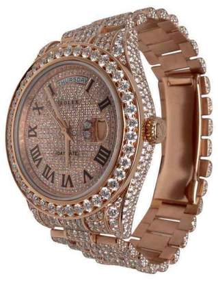 Rolex Day Date II 18K Rose Gold & Diamonds 41mm Watch $56,650 thestylecure.com