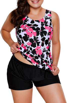 8b34c04b97 WoldGirls Women s Plus Size Two Piece Bathing Suit Tankini and Short  Swimsuits