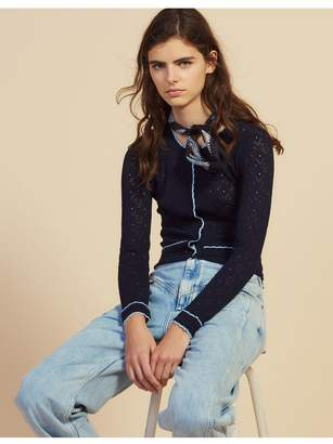 Sandro Cropped Pointelle Knit Cardigan