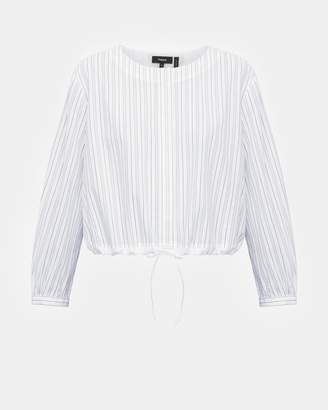 Theory Cotton Striped Crop Drawstring Top