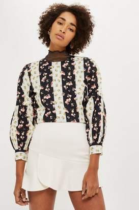 Topshop Panelled Flippy Skirt