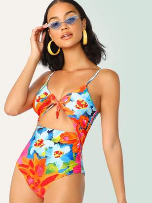 Shein Random Floral Cut-out One Piece Swimsuit
